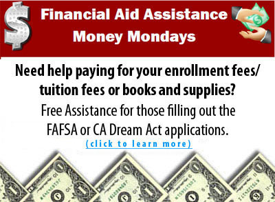 Financial Aid Banner for Money Mondays assistance classes, click for info