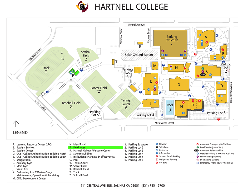 Campus map showing location of Fieldhouse