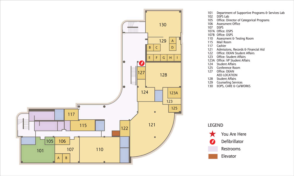 Map of 1st floor of B building