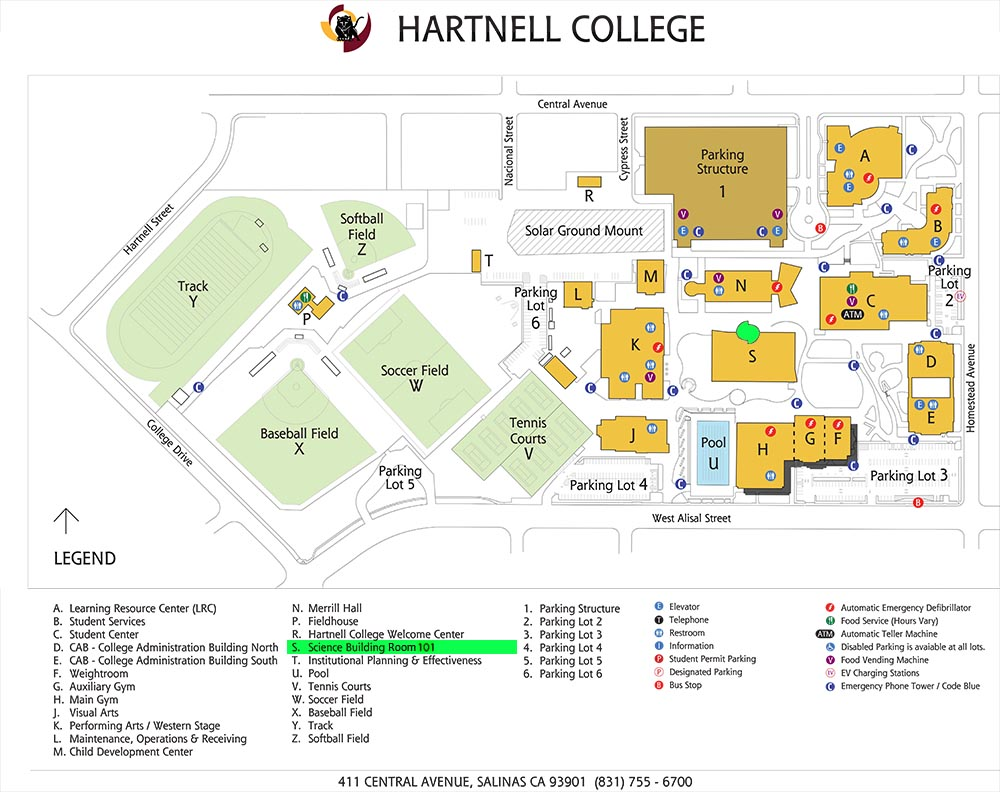 Campus map with S building and planetarium highlighted.
