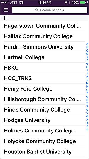 Screenshot of Hartnell Mobile App