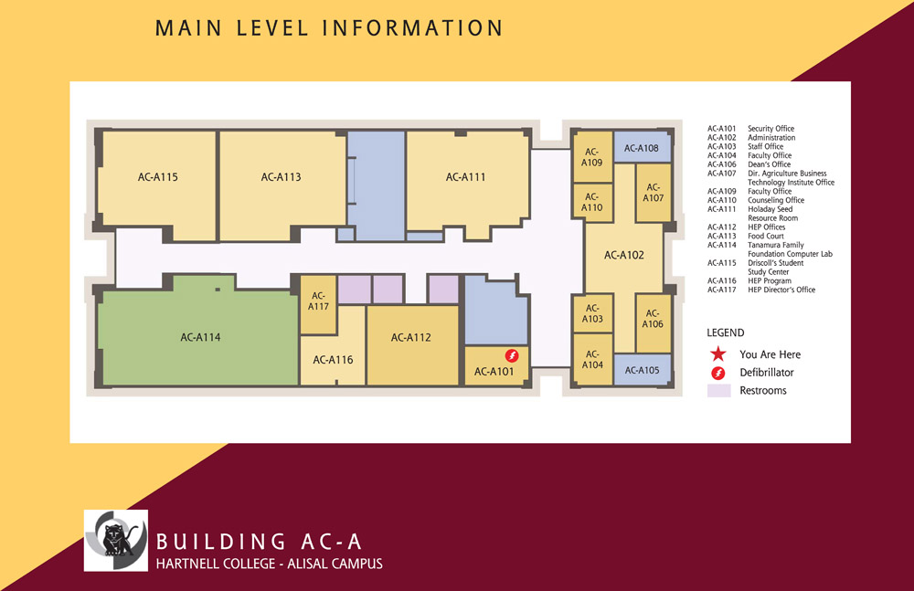 Campus Map of Hartnell College Alisal Campus Building A