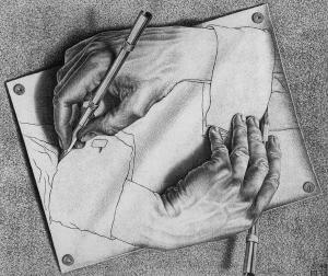 This is a famous drawing by Escher of hands.