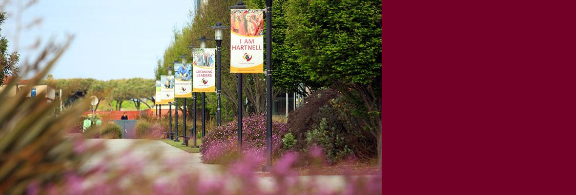 A view of the Banners surrounding the Hartnell College campus