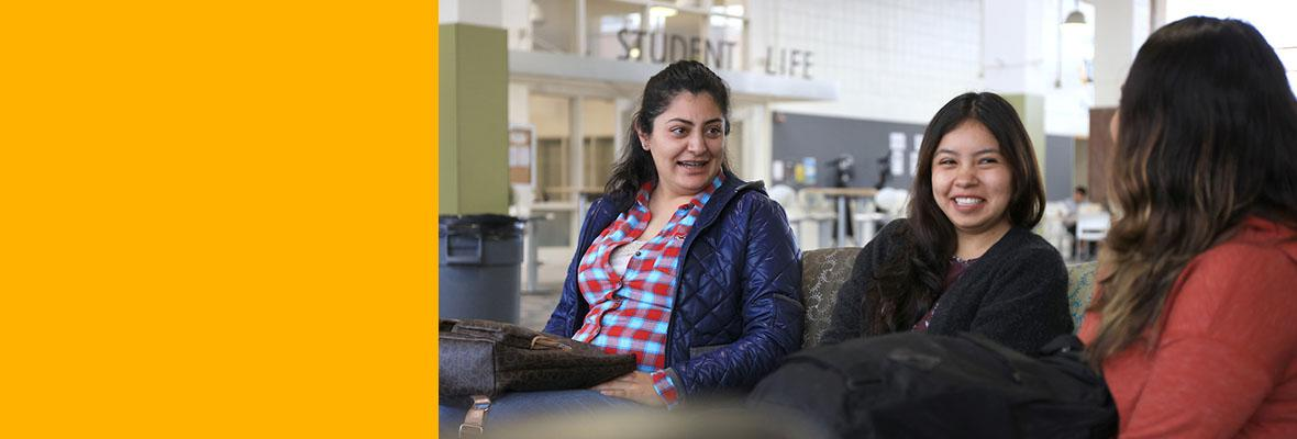 Three female students in the Student Center at Hartnell College