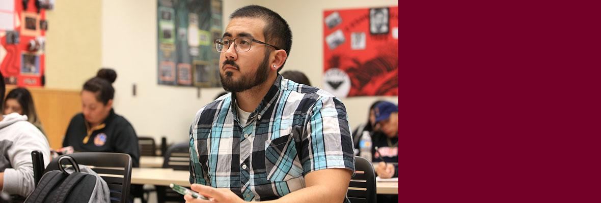 Male student in a class at Hartnell College