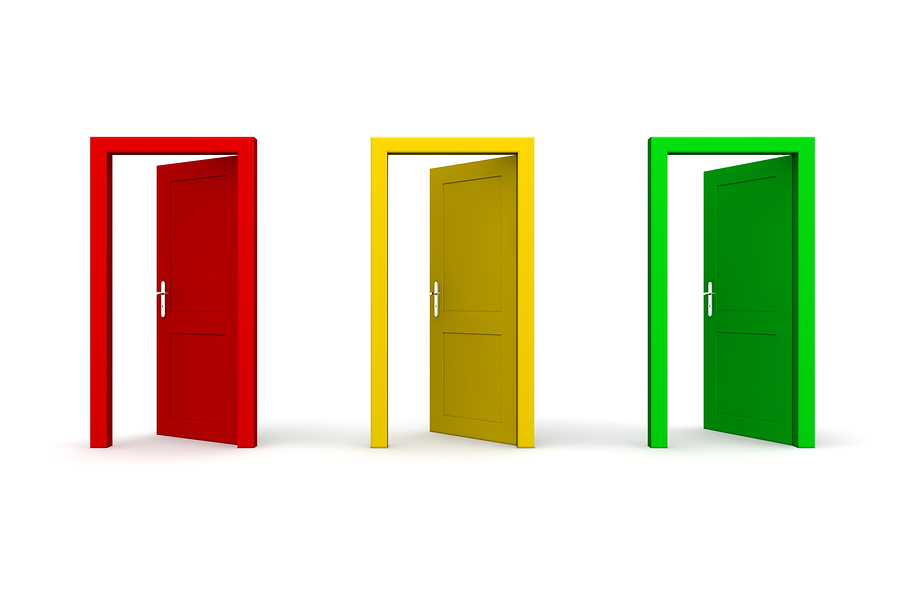 3 doors colored red, yellow and green