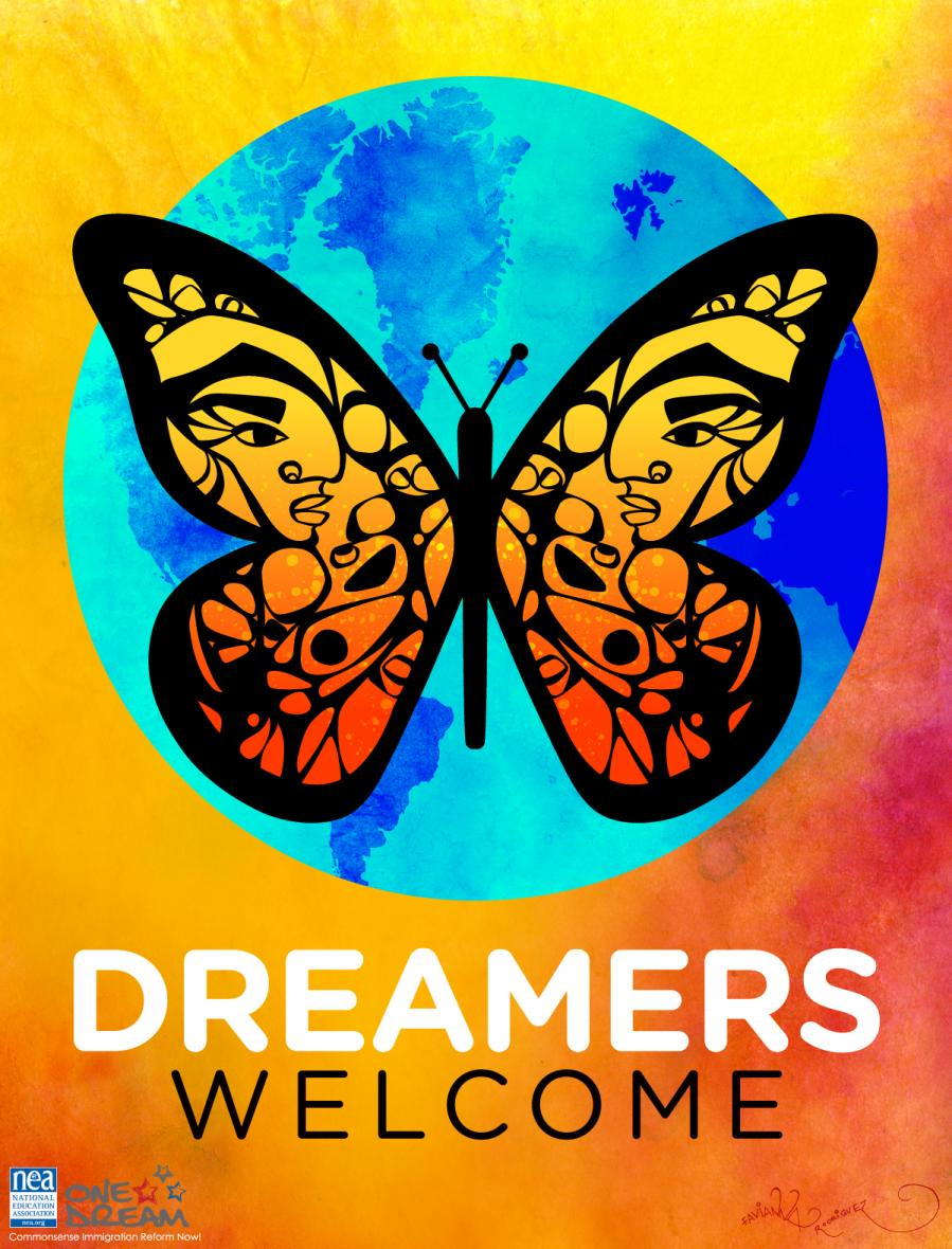 Dreamers with Butterfly background