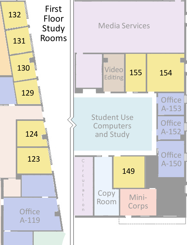 map of first floor study rooms