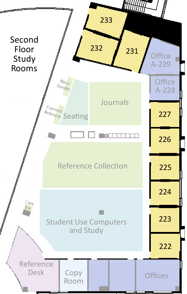 Map of second floor study rooms