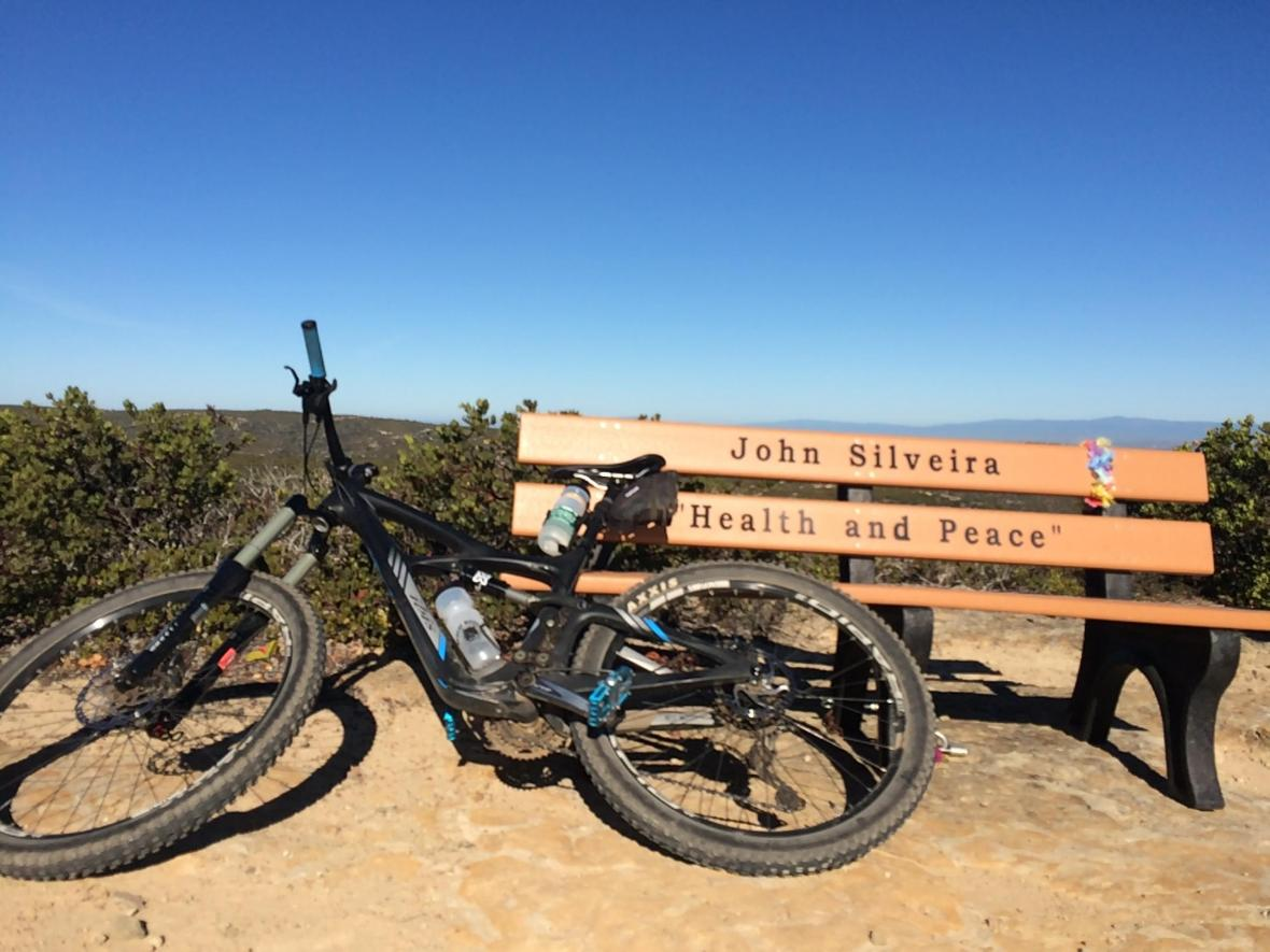 "John Silveira's ""Health and Peace"" bench located in fort ord"