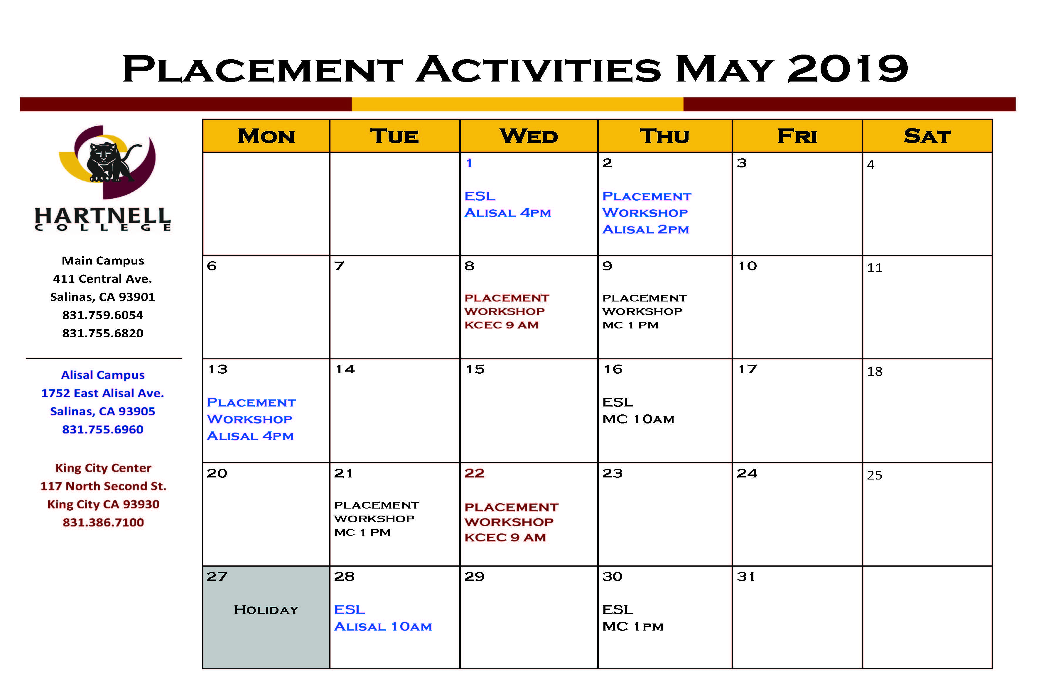 May 2019 Placement Calendar