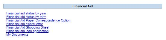 PAWS Financial Aid Menu