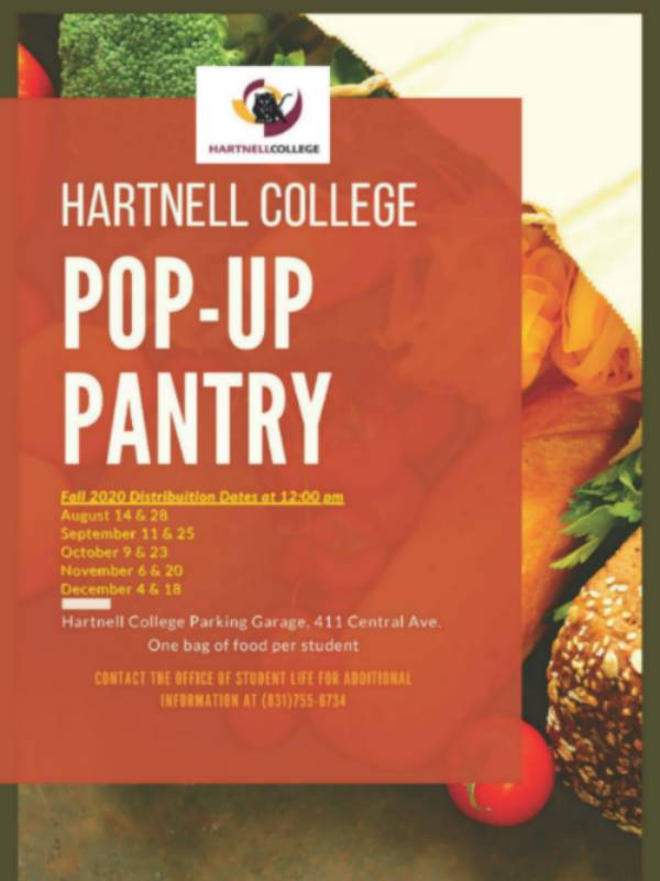Pop Up Pantry schedule for the fall 20 semester