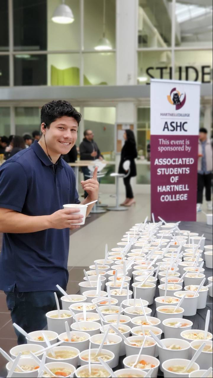Hartnell Student enjoying free delicious soup courtesy of OSL and ASHC during finals week in Fall 2019