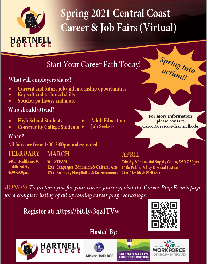 Spring 2021 Central Coast Career & Job Fairs (Virtual)